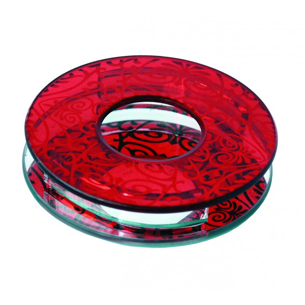 Porte bougie en verre rouge miroir - Porte bougie en verre ...